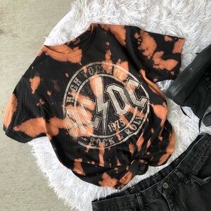 Upcycled Bleach Reverse Tie Dye AC/DC Band Tee